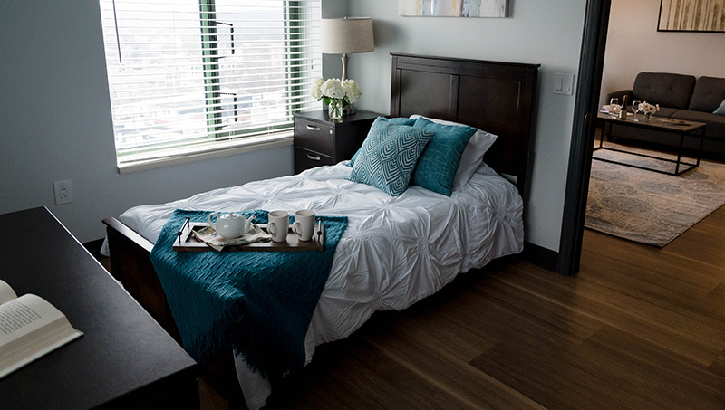 Newly remodeled residence bedroom.
